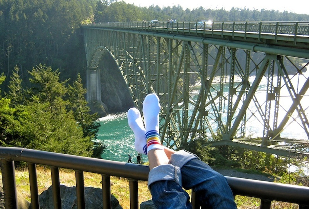 travel and wear your low cut rainbow socks with pride socks so they keep your feet comfortable