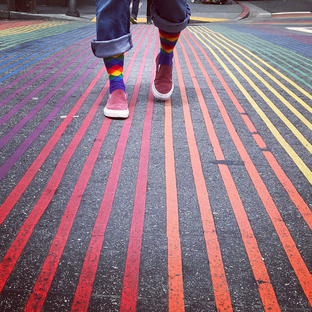 find the right rainbow road with pride while wearing your argyle socks from pride socks
