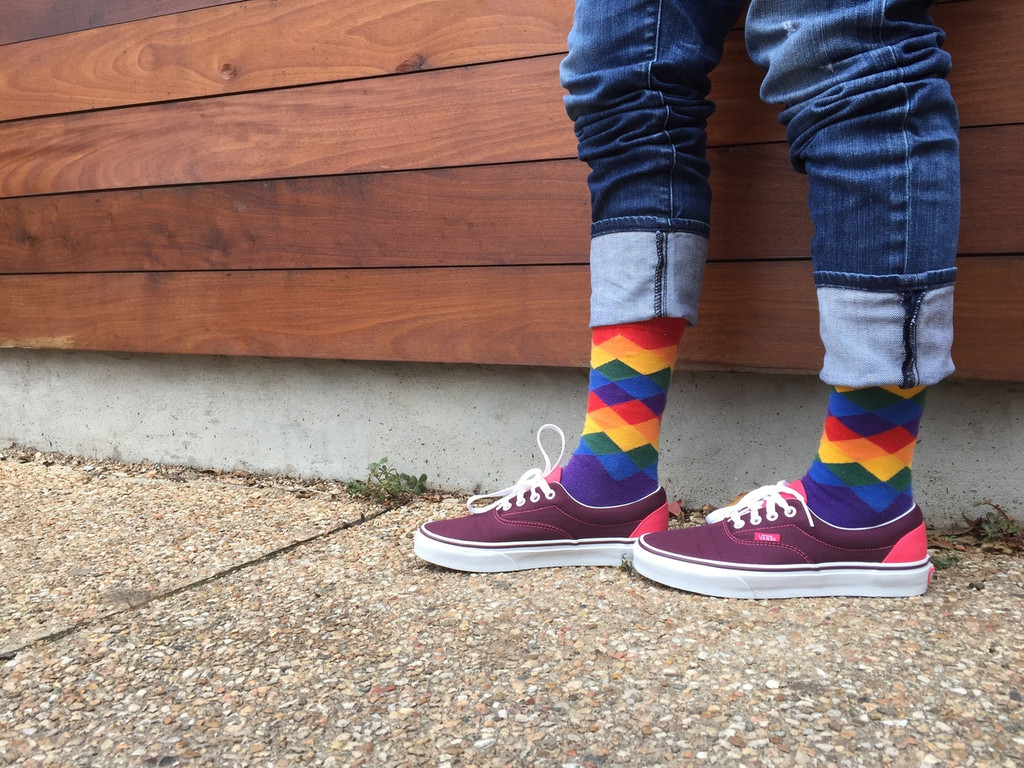 van shoes always are perfect when you wear your gay rainbow argyle socks