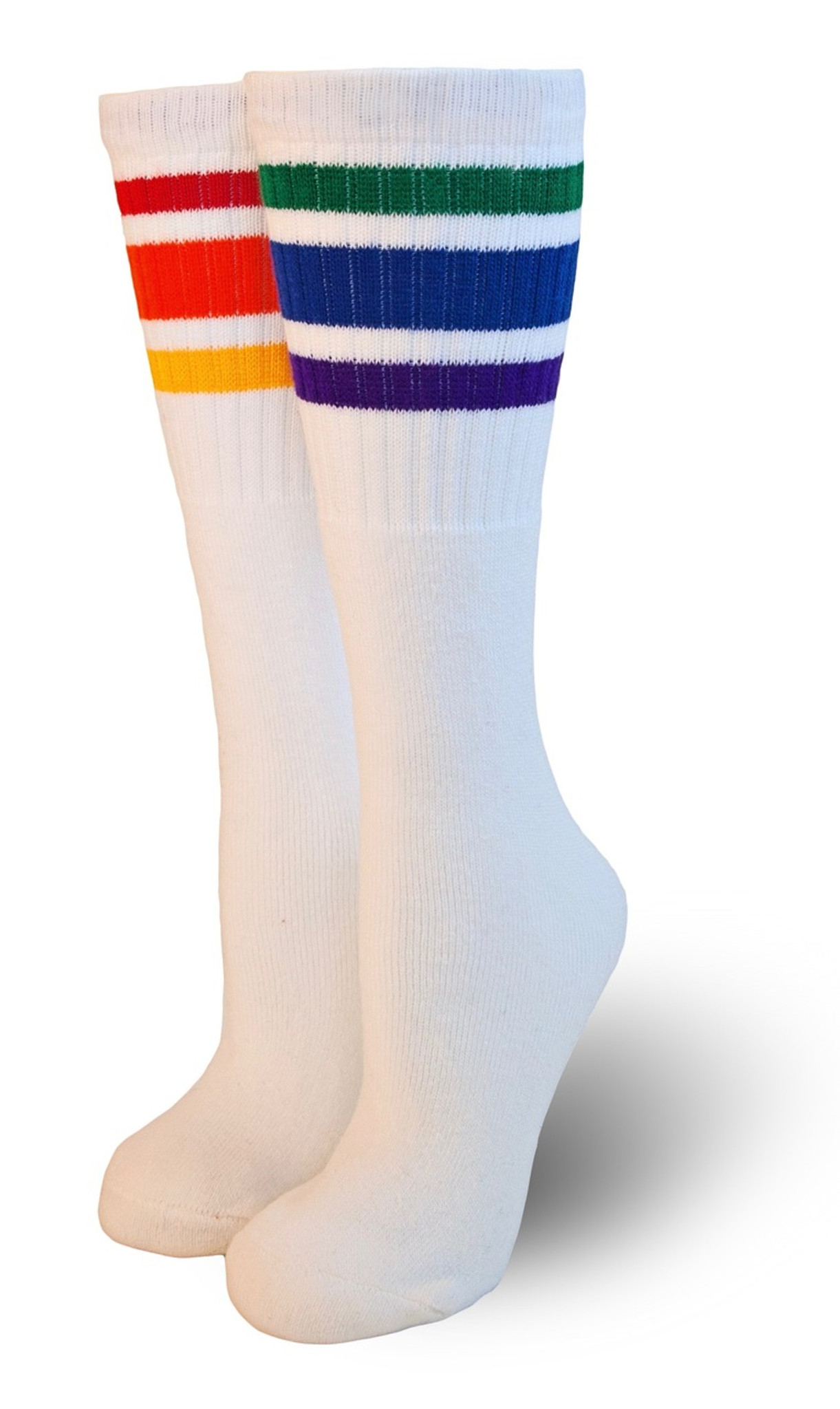 ffb7c03bc28 Kids  3- Stripe Retro Rainbow Tube Socks