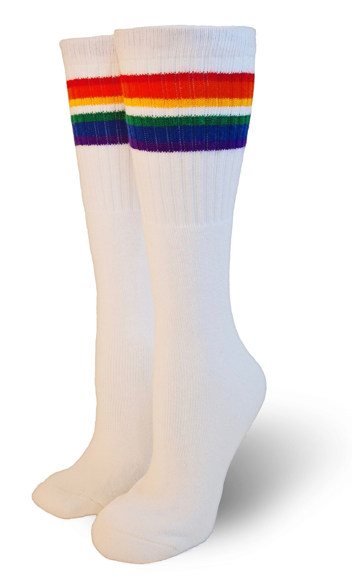 ac412b5bd794e5 Rainbow Striped Under the Knee Socks | Made In USA