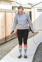 working out in my rainbow women striped pride socks