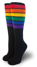 black retro rainbow knee high pride socks