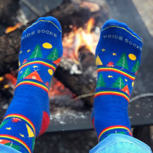 the perfect campfire with your rainbow wanderlust mens pride socks