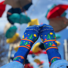 fly away within your rainbow dreams in your camper wanderlust pride socks