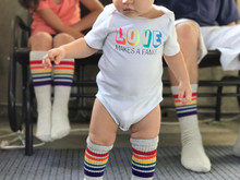 love is love.  love makes a family.  love my toddler tube pride socks