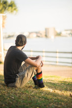 just hanging out at the park in Florida while thinking about my future goals and dreams rocking out my pride socks.