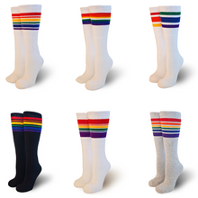 Rock 6 pairs of pride socks with your toddler friends to any birthday party or roller skating event that requires rainbow striped old school tube socks.