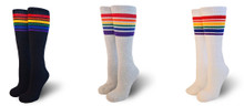 Why hold yourself back with one pair of pride socks when you can have 3 pairs of rainbow striped tube socks.  Rock the pride socks when roller skating, disco dancing, being fashionable, or while playing kick ball.  Own the look.