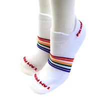 Rainbow athletic rainbow socks made for running, golfing and/or cycling.  Our athletic pride socks are made to encourage you to be the best you.