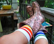 i love when my rain boots compliment my pride socks