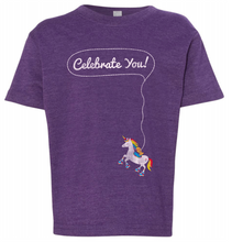 celebrate you with this unique purple shirt with a unicorn and goldfish for rubys rainbow and pride socks
