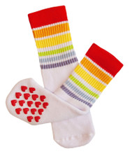 Let your toddler run wild and carefree with our toddler nonslip heart pride socks.