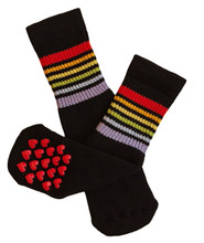 Put these on your toddler who is learning how to walk so you don't have to worry about them falling!  Our pride socks will help you worry less.