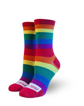 Take pride in  every step you take in creating justice, love and peace with your full rainbow pride socks.
