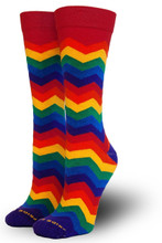 Pride Socks rocking the rainbow knee high chevron socks sized to fit women