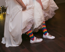 brides maid rainbow pride socks