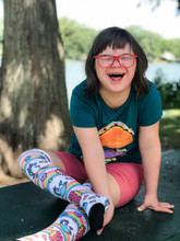ruby rocking out her me do me pride socks