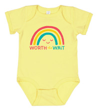 you are always worth the wait with pride socks.  no matter if you are a rainbow baby, adopted, ivf baby or however you came into this world, you were worth the wait.