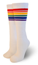 over the knee retro rainbow pride socks