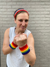 who can take this lesbian on with her rainbow wrist and head band from austin texas