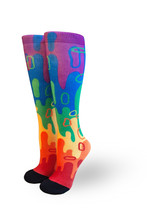 respect the drip t jay santa pride socks.  introducing artist highlighted socks in time for pride and love.