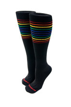 large black rainbow compression socks are made for pride socks.