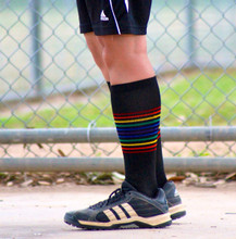 wear pride socks compression socks when you are playing softball and waiting to bat.  they look cool and make your legs feel great.