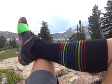 pride socks black compression socks are perfect for when you hike in the mountains.