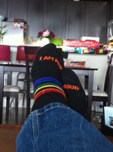 relax and know our athletic rainbow pride socks will take care of your feet