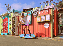 Bryce Wettstein having fun on the board in her black pride socks