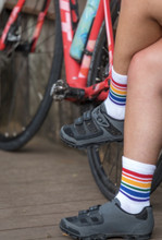 when you go to spin class do not forget to wear your low cut rainbow stripe pride sock