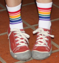 style your athletic low cut rainbow socks with any fashion tennis shoes.
