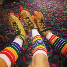 no better socks can be worn while rocking your pride socks and skating at the roller skating rink.
