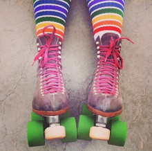 moxi roller skates and pride socks are a match made in heaven.