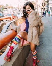 when retro fashion meets rainbow striped tube socks