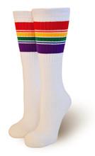 retro pride socks under the knee