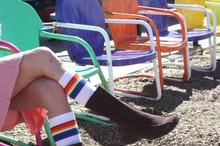 retro socks meet retro chairs.