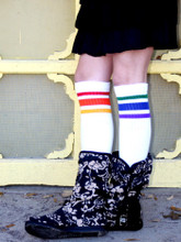 these boot socks look fantastic in my pride socks