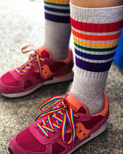 rock out your gray pride socks when you wear your pride socks rainbow shoe laces