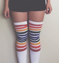 our pride socks rainbow sock thigh highs are perfect with your skirt or shorts.