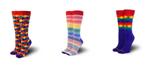 Don't let the stress of trying to figure out which pair of rainbow business casual pride socks get to you. Get three pairs and rejoice in knowing your fashion notch took a couple turns.