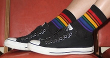 pride socks athletic socks are fashionable.