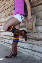 giddy up cowgirl in your black rainbow socks in your knee high socks