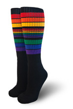retro black rainbow tube pride socks