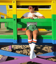 hanging out in Venice beach, California watching all the surfers and skaters while i rock out my retro pride socks