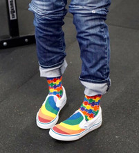 wearing out my rainbow vans with my rainbow puzzle pride socks