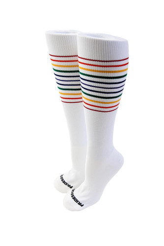 white rainbow striped compression socks for nurses, pilots, athlete or anyone on their feet all day.  anyone wearing their pride socks compression socks will love them