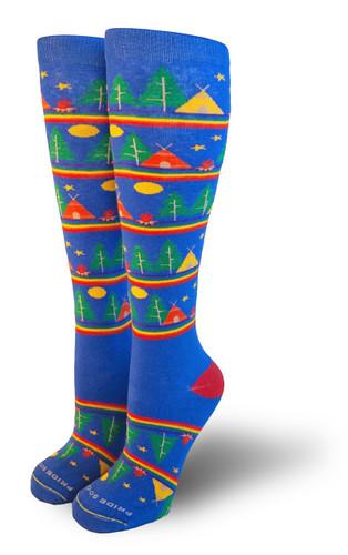 mens wanderlust camping pride socks