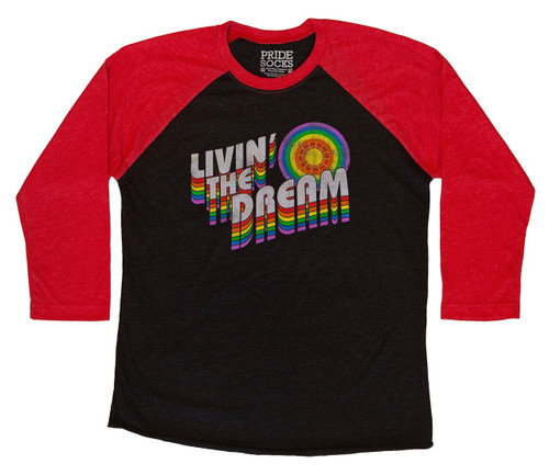 Take a risk on your next adventure while living the dream while wearing your pride socks retro styled raglan shirt.